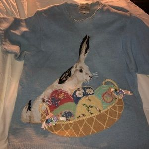 Pretty Easter Sweater / hand embroidered